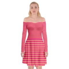 Decorative Lines Pattern Off Shoulder Skater Dress