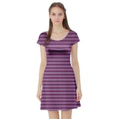 Decorative lines pattern Short Sleeve Skater Dress