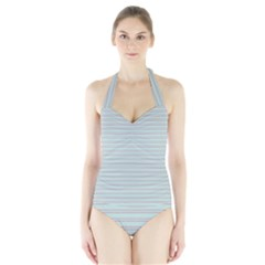 Decorative lines pattern Halter Swimsuit