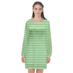 Decorative Lines Pattern Long Sleeve Chiffon Shift Dress