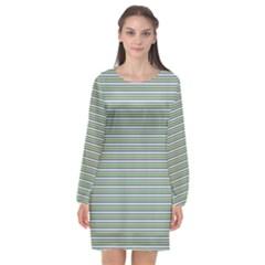 Decorative Line Pattern Long Sleeve Chiffon Shift Dress