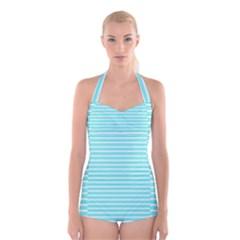 Decorative line pattern Boyleg Halter Swimsuit