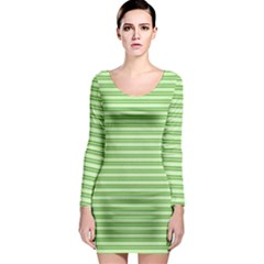 Decorative line pattern Long Sleeve Bodycon Dress