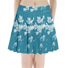 Autumn Crocus Blue Pleated Mini Skirt