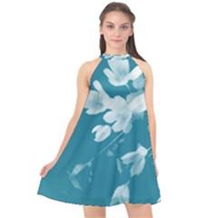 Autumn Crocus Blue Halter Neckline Chiffon Dress