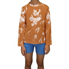 Autumn Crocus Orange Kids  Long Sleeve Swimwear