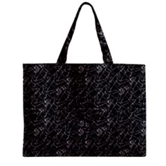 Linear Abstract Black And White Zipper Mini Tote Bag