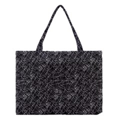 Linear Abstract Black And White Medium Tote Bag