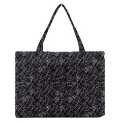 Linear Abstract Black And White Medium Zipper Tote Bag