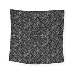 Linear Abstract Black And White Square Tapestry (small)