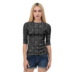 Linear Abstract Black And White Quarter Sleeve Tee