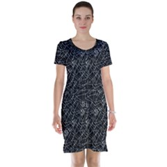 Linear Abstract Black And White Short Sleeve Nightdress