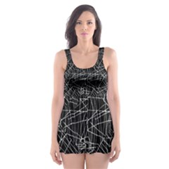 Linear Abstract Black And White Skater Dress Swimsuit