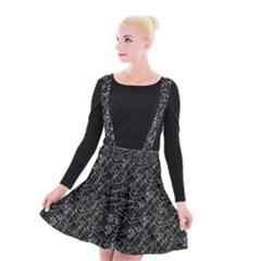 Linear Abstract Black And White Suspender Skater Skirt