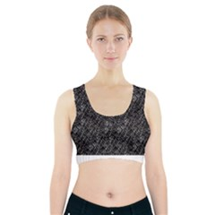 Linear Abstract Black And White Sports Bra With Pocket