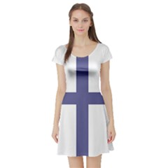 Greek Cross  Short Sleeve Skater Dress