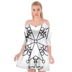 Huguenot Cross Cutout Spaghetti Strap Chiffon Dress