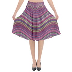 Pattern Flared Midi Skirt