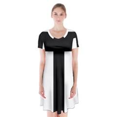 Latin Cross  Short Sleeve V-neck Flare Dress