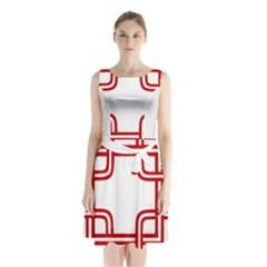 Macedonian Cross Sleeveless Waist Tie Chiffon Dress