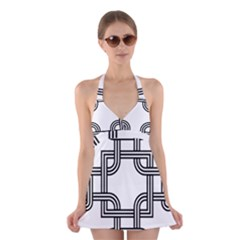 Macedonian Cross Halter Swimsuit Dress