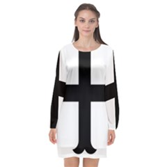 Cross Molin Long Sleeve Chiffon Shift Dress