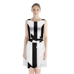 Orthodox Cross  Sleeveless Waist Tie Chiffon Dress