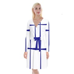 Byzantine Cross  Long Sleeve Velvet Front Wrap Dress