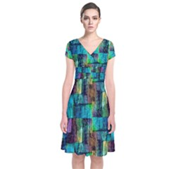 Abstract Square Wall Short Sleeve Front Wrap Dress