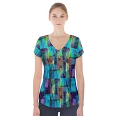 Abstract Square Wall Short Sleeve Front Detail Top