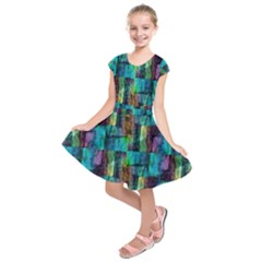 Abstract Square Wall Kids  Short Sleeve Dress