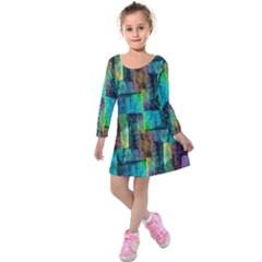 Abstract Square Wall Kids  Long Sleeve Velvet Dress