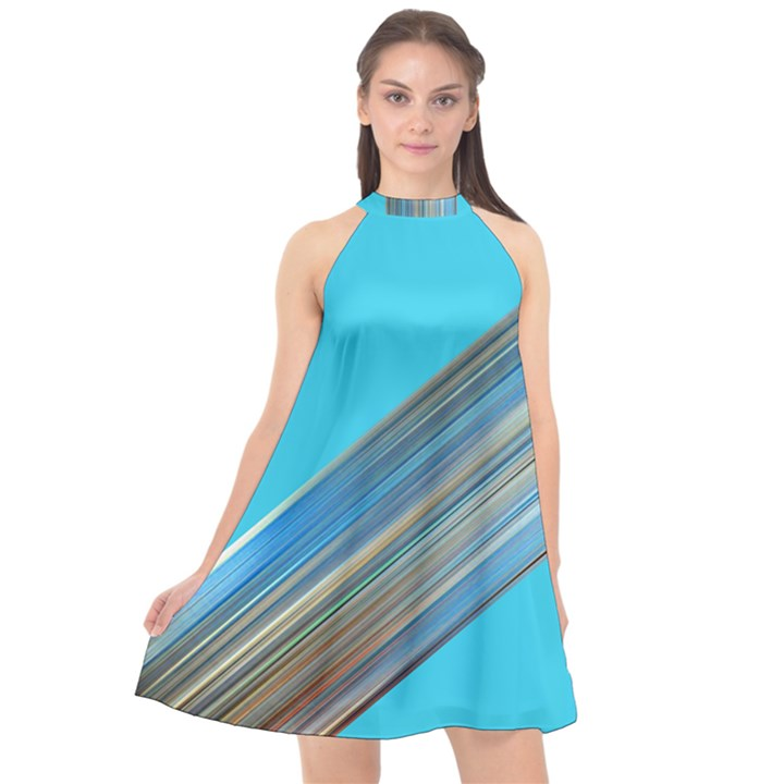 blue metal-annabellerockz Halter Neckline Chiffon Dress