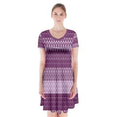 Pattern Short Sleeve V-neck Flare Dress