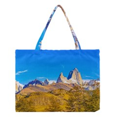 Snowy Andes Mountains, El Chalten, Argentina Medium Tote Bag