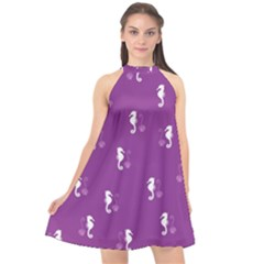Pattern Halter Neckline Chiffon Dress