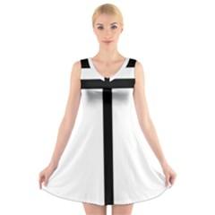 Papal Cross  V-Neck Sleeveless Skater Dress