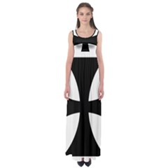 Cross Patty  Empire Waist Maxi Dress