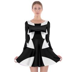 Cross Patty  Long Sleeve Skater Dress