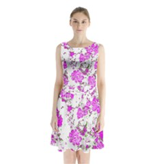 Floral Dreams 12 F Sleeveless Waist Tie Chiffon Dress