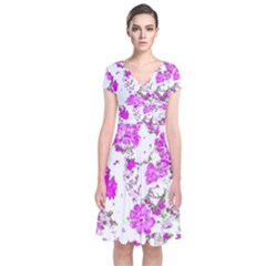 Floral Dreams 12 F Short Sleeve Front Wrap Dress