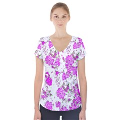 Floral Dreams 12 F Short Sleeve Front Detail Top