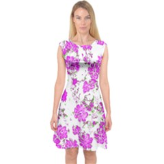 Floral Dreams 12 F Capsleeve Midi Dress