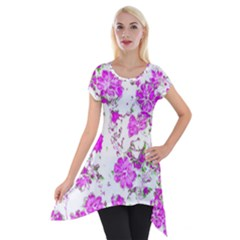 Floral Dreams 12 F Short Sleeve Side Drop Tunic