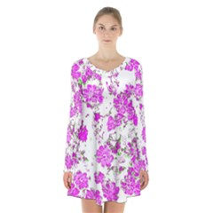 Floral Dreams 12 F Long Sleeve Velvet V-neck Dress
