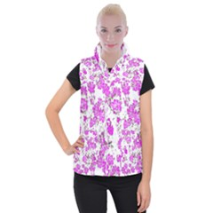 Floral Dreams 12 F Women s Button Up Puffer Vest