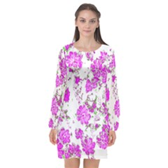 Floral Dreams 12 F Long Sleeve Chiffon Shift Dress