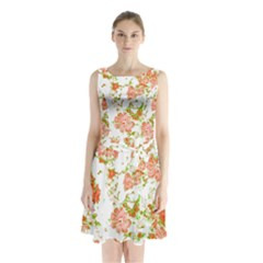 Floral Dreams 12 D Sleeveless Waist Tie Chiffon Dress
