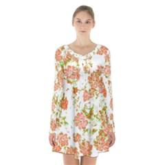 Floral Dreams 12 D Long Sleeve Velvet V Neck Dress