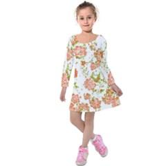 Floral Dreams 12 D Kids  Long Sleeve Velvet Dress